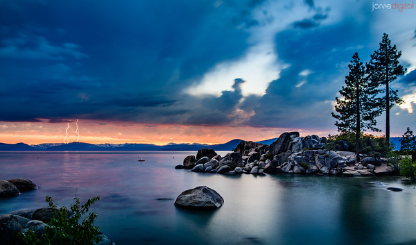 Tahoe Sunset and Lightning