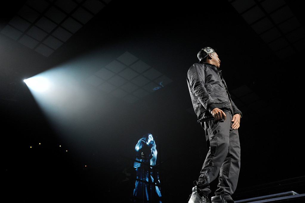""". Pop star performer Jay-Z performs during his  \""""Magna Carta World Tour\"""" December 2, 2013 at Pepsi Center in Denver. (Photo by John Leyba/The Denver Post)"""