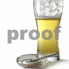 Beer glass and burned cigarette