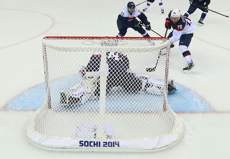 . Paul Stastny #26 of United States scores a goal against Jaroslav Halak #41 of Slovakia in the second period during the Men\'s Ice Hockey Preliminary Round Group A game on day six of the Sochi 2014 Winter Olympics at Shayba Arena on February 13, 2014 in Sochi, Russia.  (Photo by Streeter Lecka/Getty Images)