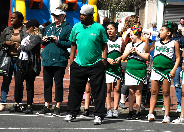 4/28/2018 Mike Orazzi   Staff Northend basketball coach Anthony Little John during the annual Hoops for Homeless in downtown New Britain.