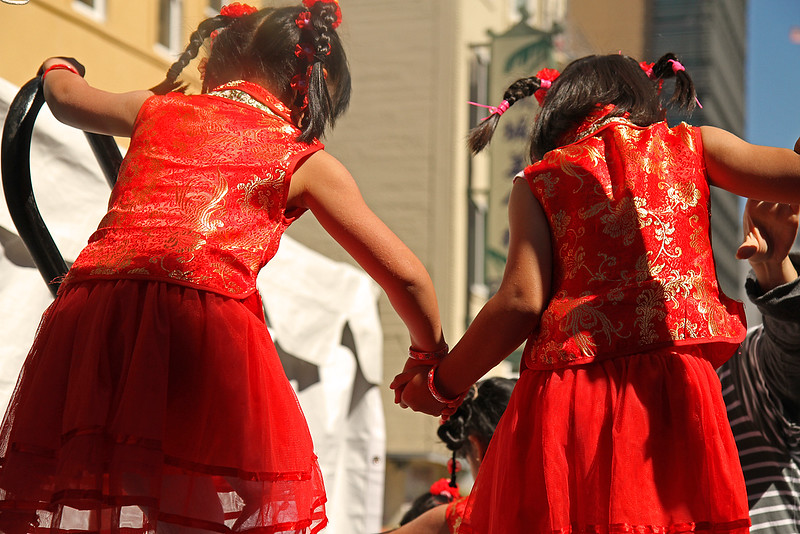 Littlest Dancers helping each other offstage, Autumn Moon Festival 2012, San Francisco