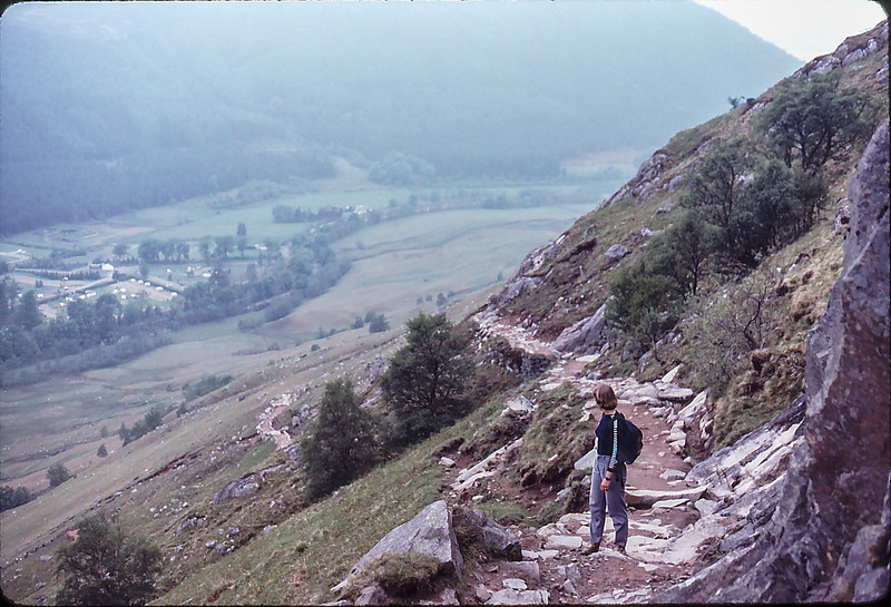 Di climbing hard on Ben Nevis......into the fog, Fort William, Soctland, 1984