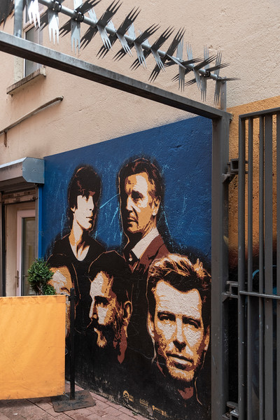 Painted sketches of celebrities on walls in City of Cork, County Cork, Ireland