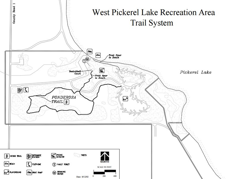 Pickerel Lake Recreation Area (Trail Map - West Section)