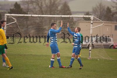 Goalscorer for Finn Harps Sean Havern celebrates with Dee McCann. RS1605009