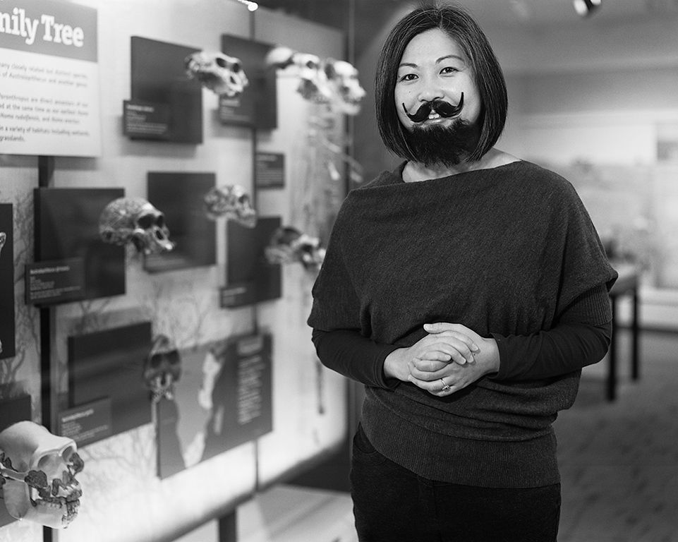 """. This portray of Denise Su, curator of paleobotany and paleoecology at the Cleveland Museum of Natural History, is included in \""""The Bearded Lady Project: Challengeing the Face of Science.\"""" The touring exhibit, on display at CMNH through Feb. 18, includes a number of portrays of female scientists donning facial hair to make a statement about societal perceptions about those who work in fields such as paleontology. For more information, visit www.cmnh.org. (Kelsey Vance)"""