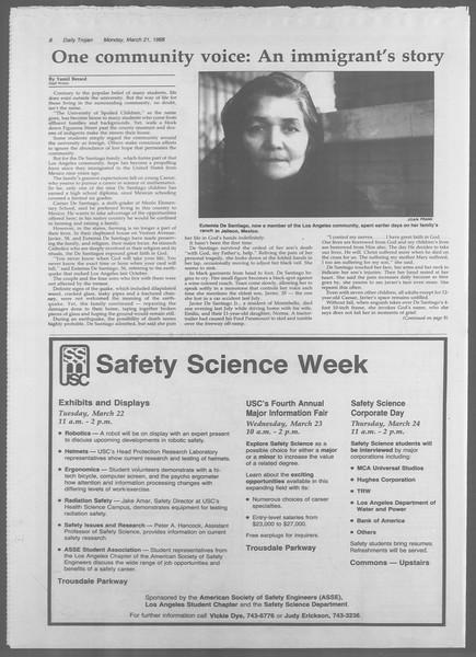 Daily Trojan, Vol. 106, No. 48, March 21, 1988