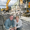 Cllr John Feehan and Noelle McGarvey SDLP representative Newtownhamilton pictured in front of the dismantling work taking place at the police station. 06W32N2