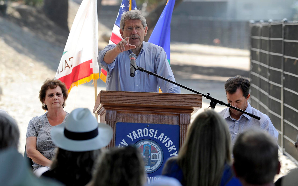 . LA County Supervisor Zev Yaroslavsky joined the Village Gardeners of the Los Angeles River as they broke ground for North Valleyheart Riverwalk project. The plan is to beautify and improve the ½ mile concrete channel that boarders Valleyheart Drive between Fulton and Coldwater Canyon Avenues. Studio City, CA. 7/13/2013(John McCoy/LA Daily News)