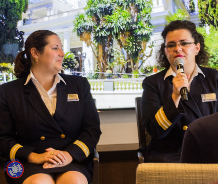 Meredith and Maja Describing Their Respective Roles as Officers on the Westerdam (©simon@myeclecticimages.com)