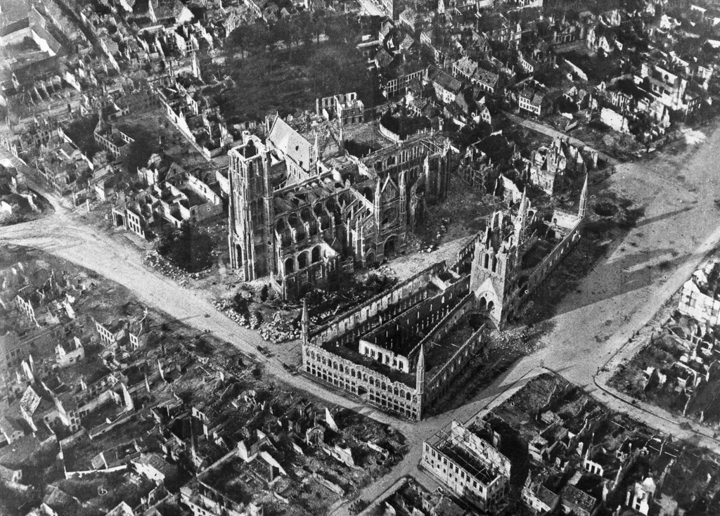 . An early aerial photograph of the Belgium town of Ypres, the site of three major battles during World War I, and almost completely devastated by bombing.   (Photo by Hulton Archive/Getty Images)