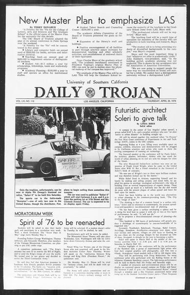Daily Trojan, Vol. 61, No. 116, April 30, 1970