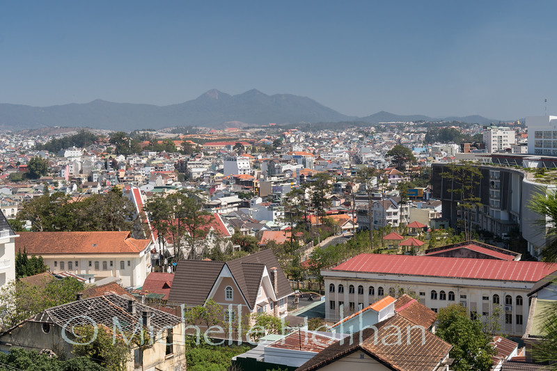DALAT, VIETNAM - MARCH 1, 2019: View over downtown Dalat from the famous Crazy House.