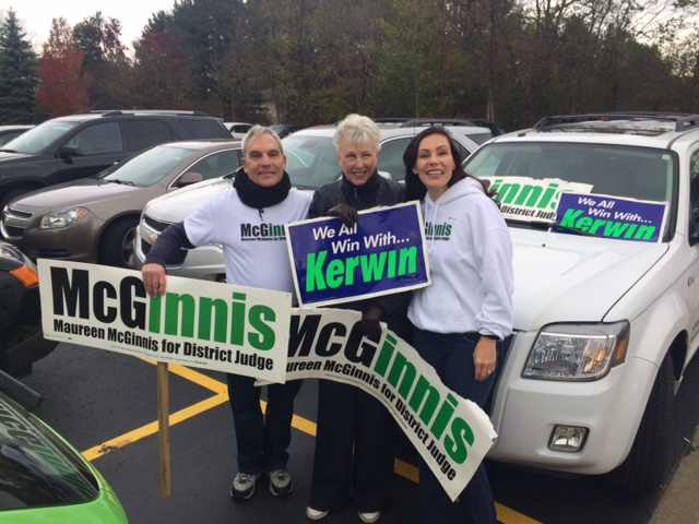 . Former Troy city councilwoman Maureen McGinnis, who is running for district judge in Troy, is out campaigning with supporters. (Submitted by Maureen McGinnis)