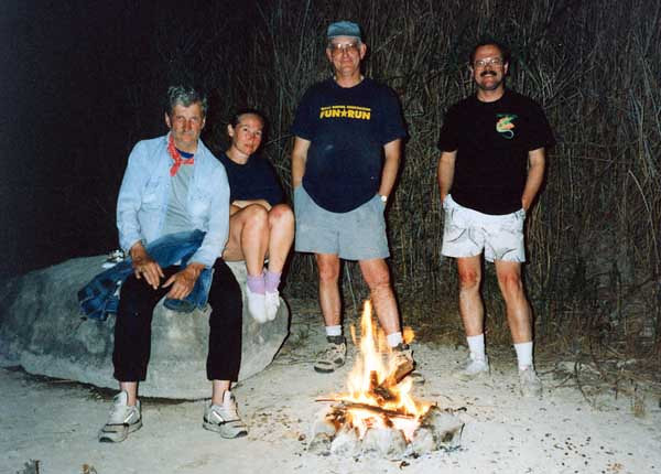 PECOS RIVER GROUP SHOT And here I am with the rest of the group -- Rick Eilers, Susan Gentry, and Steve Crane. Boy, look at those sunburned knees!