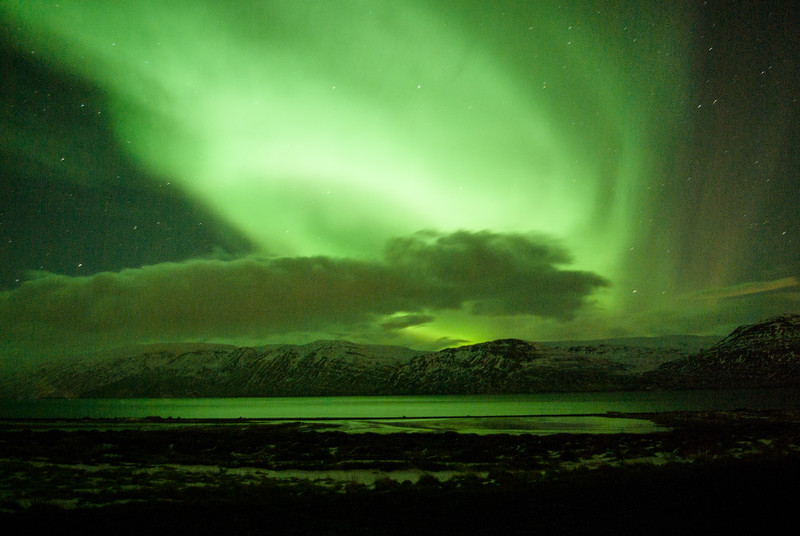Northern Lights outside of Akureyri