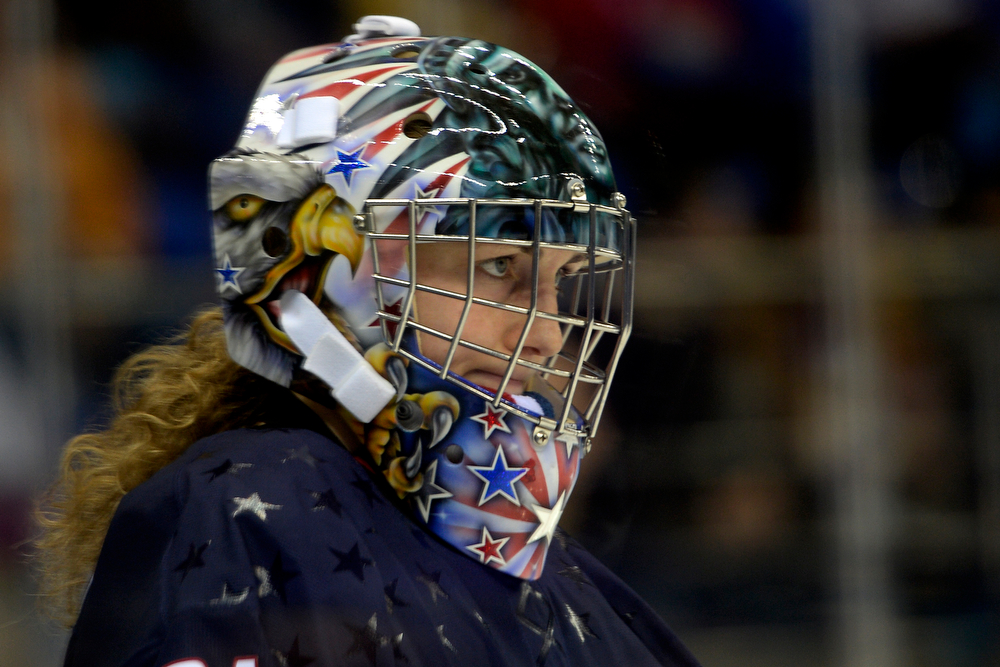 . U.S.A. goalie Jessie Vetter takes a breather during the third period of the United States\' 3-1 win against Finland. Sochi 2014 Winter Olympics on Saturday, February 8, 2014. (Photo by AAron Ontiveroz/The Denver Post)