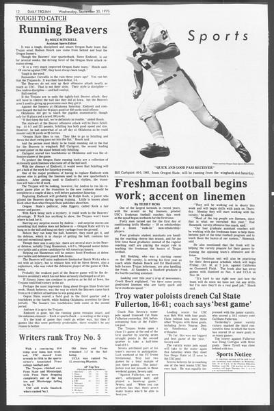 Daily Trojan, Vol. 62, No. 7, September 30, 1970