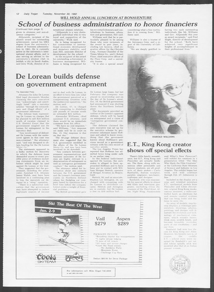 Daily Trojan, Vol. 92, No. 57, November 30, 1982