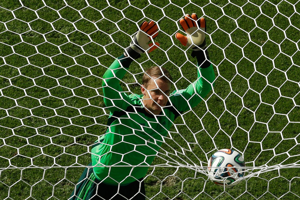 . Germany\'s goalkeeper Manuel Neuer reacts as he watches the ball after an attack during the quarter-final football match between France and Germany at The Maracana Stadium in Rio de Janeiro on July 4, 2014, during the 2014 FIFA World Cup. (MATT DUNHAM/AFP/Getty Images)