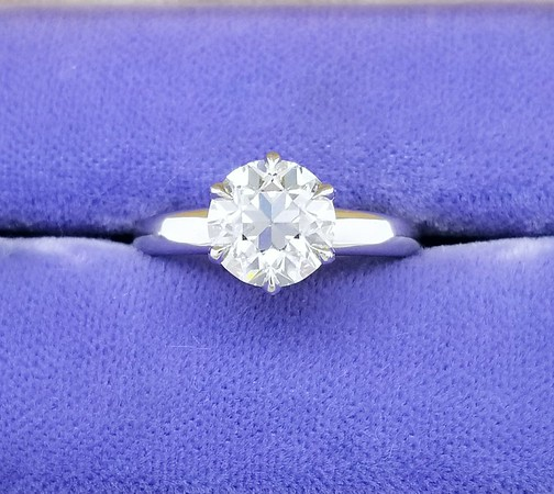 7.5mm ENV Old European Cut Moissanite in CvB Solitaire