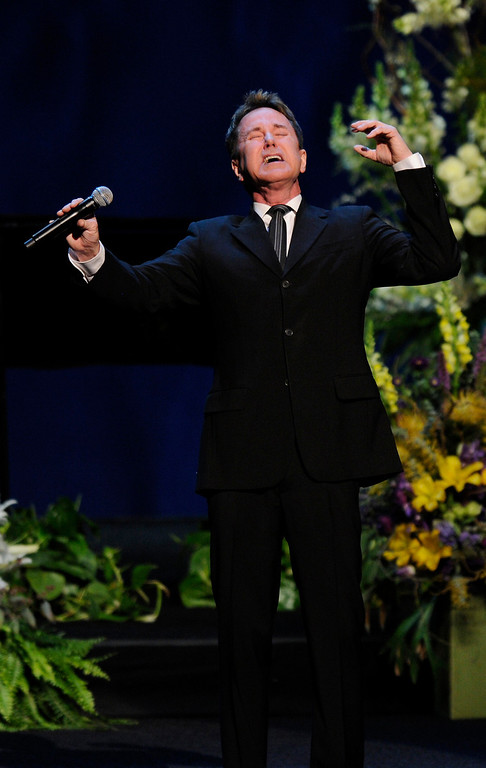 . Davis Gaines performs at the Jerry Buss Memorial Service at Nokia Theatre, Thursday, February 21, 2013. (Michael Owen Baker/Staff Photographer)