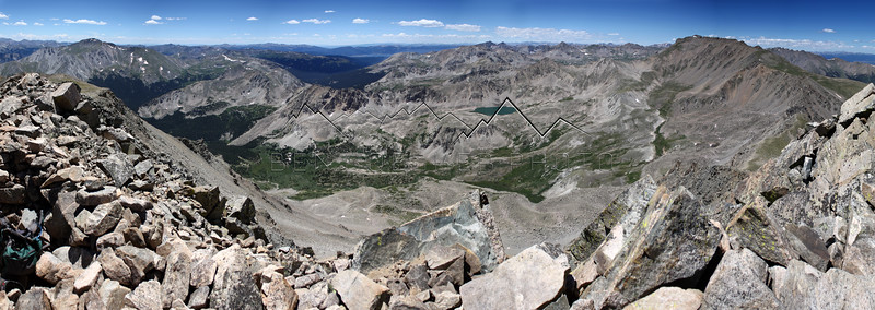 Panorama from the summit of 14,073' Columbia Peak