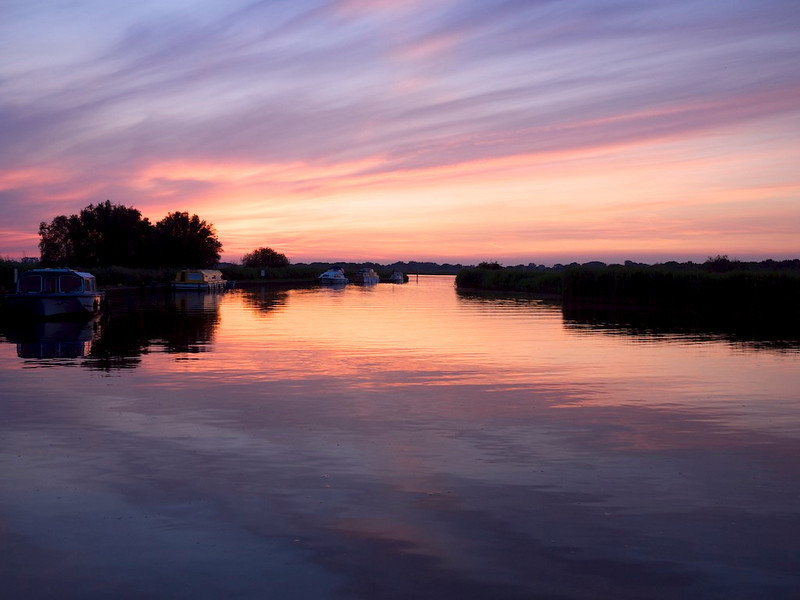Sunset on Hickling Broad at Deep Dyke