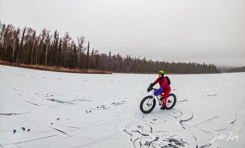 Cycling on frozen X Lake