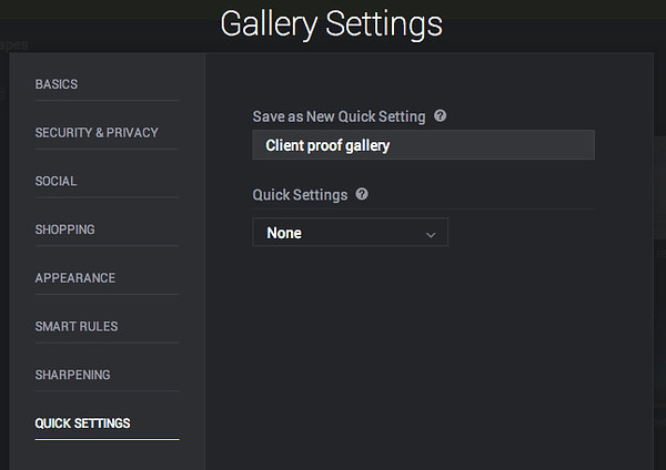 "Quick Settings: Just one of many ""set it and forget it"" features you get at SmugMug."