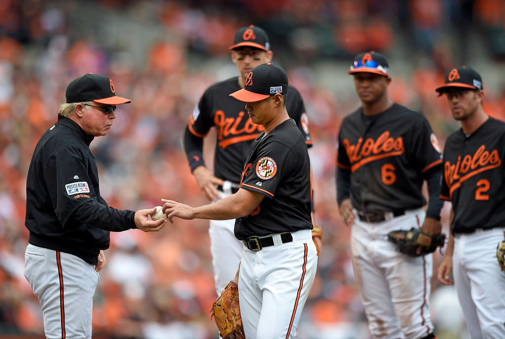 . Baltimore Orioles manager Buck Showalter, left, relieves starting pitcher Wei-Yin Chen, of Taiwan, in the fourth inning of Game 2 in baseball\'s AL Division Series against the Detroit Tigers in Baltimore, Friday, Oct. 3, 2014. (AP Photo/Nick Wass)