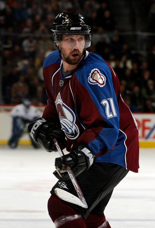 . Peter Forsberg returned to the Pepsi Center to play again with the Colorado Avalanche in Tuesday night\'s game against the Vancouver Canucks.     The Denver Post/ Karl Gehring
