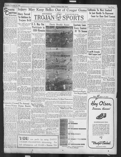 Daily Trojan, Vol. 27, No. 38, November 14, 1935