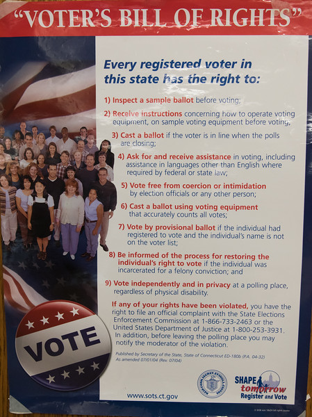 08/14/18  Wesley Bunnell | Staff  Voter's Bill of Rights posted at Slade Middle School voting station on Tuesday evening.
