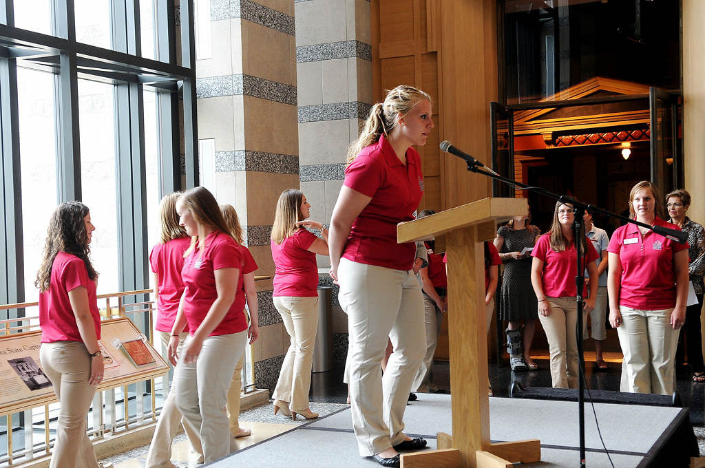 . 2013 Princess Kay candidate Katie Buckentine, 19, of Carver County introduces herself during a ceremony at the Minnesota History Center on Saturday. (Pioneer Press: Sherri LaRose-Chiglo)