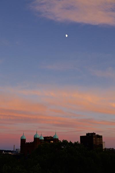 Moon over Phelps Gate, Yale University