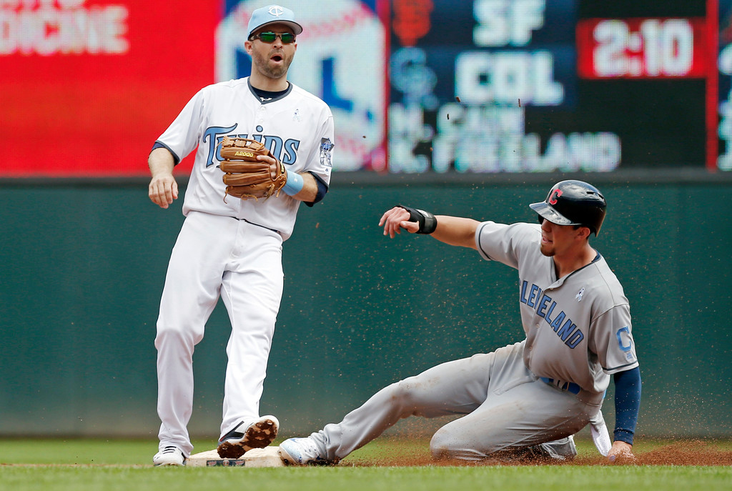 . Cleveland Indians\' Bradley Zimmer, right, steals second base in front of Minnesota Twins second baseman Brian Dozier in the first inning during game one of a baseball doubleheader, Saturday, June 17, 2017, in Minneapolis. Zimmer drove in two runs in the inning on a single. (AP Photo/Jim Mone)