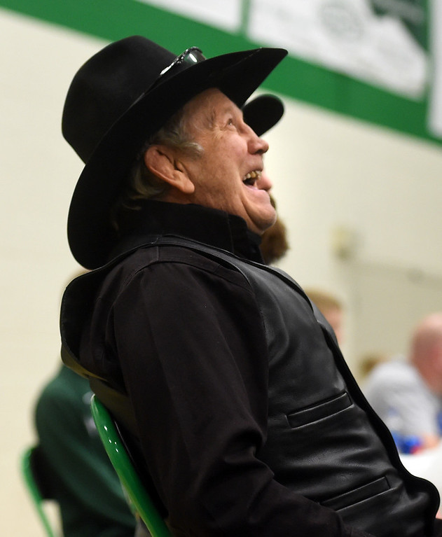 . Lyons wrestling icon, Linn Long, at the Gary Daum Invitational Wrestling Tournament on Saturday at Niwot High School. Cliff Grassmick  Photographer January 6, 2018