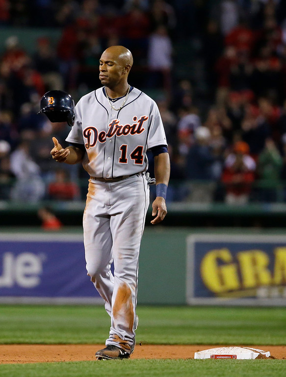 . Detroit Tigers\' Austin Jackson flips his batting helmet after being forced out at second on a double play by the Boston Red Sox during the fifth inning in Game 6 of the American League baseball championship series on Saturday, Oct. 19, 2013, in Boston. (AP Photo/Matt Slocum)