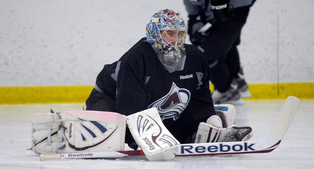 . Colorado Avalanche G Semyon Varlamov (1) stretches as the Avalanche return to the ice Sunday, January 13, 2013 at Family Sports Center. John Leyba, The Denver Post