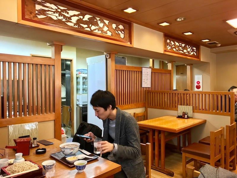 The bright, warmly-lit, tasteful interior of Fukudaya.