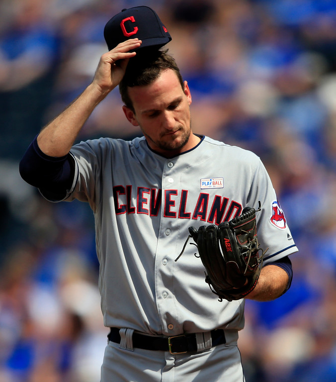 . Cleveland Indians relief pitcher Dan Otero adjusts his hat during the seventh inning of a baseball game against the Kansas City Royals at Kauffman Stadium in Kansas City, Mo., Saturday, June 3, 2017. (AP Photo/Orlin Wagner)