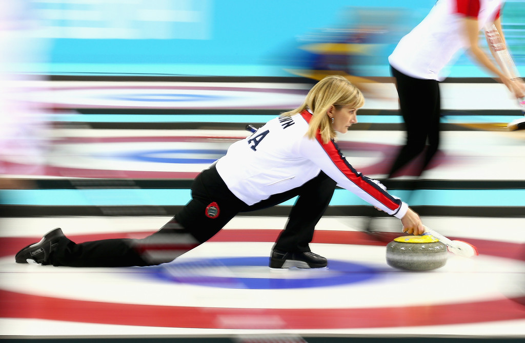 . Erika Brown of USA in action during the round robin match against Switzerland during day 3 of the Sochi 2014 Winter Olympics at Ice Cube Curling Center on February 10, 2014 in Sochi, Russia.  (Photo by Clive Mason/Getty Images)