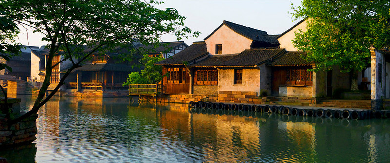 "Early Morning in Wuzhen Water Village. 36""x15"""