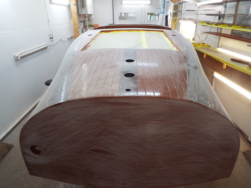 Rear view of the hull sanded.