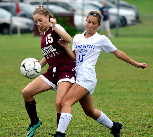 9/7/2018 Mike Orazzi | Staff Bristol Central's Lily Hanson (15) and Plainville's Delaney Beausoleil (15) during Friday's soccer at BC.
