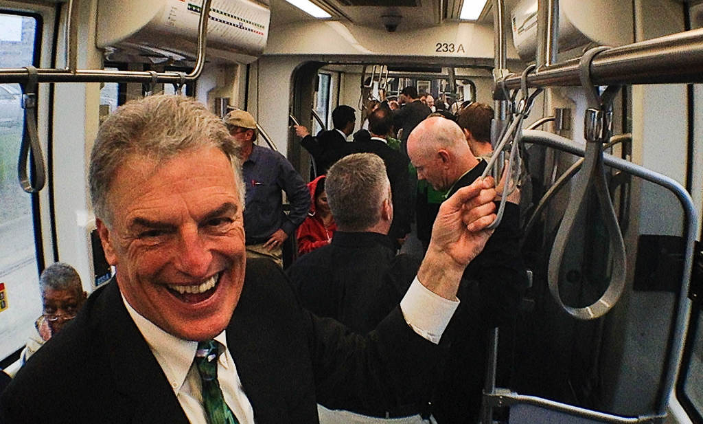 . Hennepin County Commissioner District Peter McLaughlin rides the train on opening day.  (Pioneer Press: Ben Garvin)