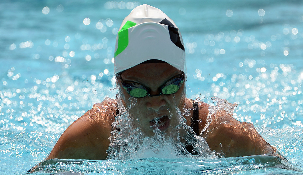 . Upland\'s Sonia Wang wins the 200 yard freestyle during the Division 2 CIF Southern Section Swimming Championships in the Riverside Aquatics Complex at Riverside City College in Riverside, Calif., on Saturday, May 17, 2014.  (Keith Birmingham/Pasadena Star-News)