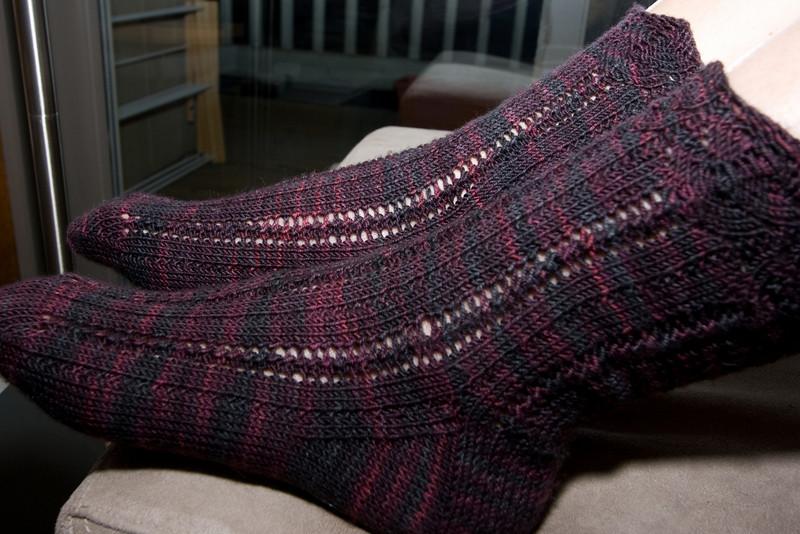 Lenore socks, by Stephanie Pearl-McPhee, in Socks that Rock Lightweight.